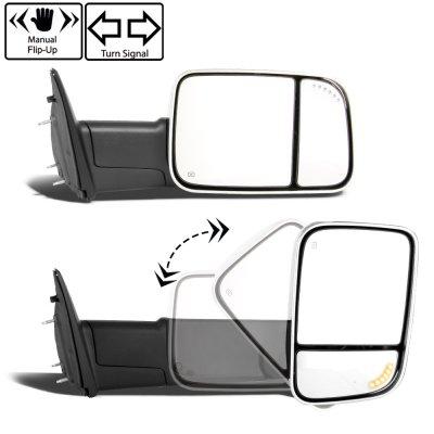 Dodge Ram 3500 2010-2018 Chrome Power Heated Turn Signal Towing Mirrors Clear Signal Lens