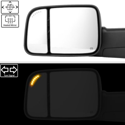 Dodge Ram 2500 2003-2009 New Power Heated Turn Signal Towing Mirrors Clear Signal Lens