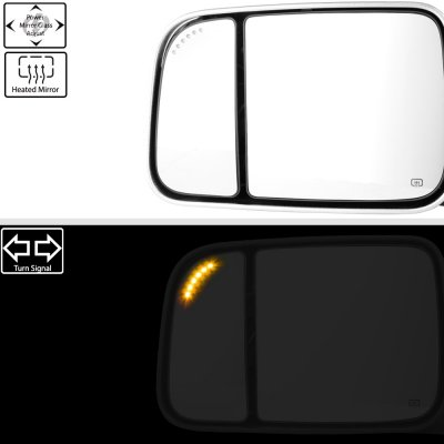 Dodge Ram 1500 2002-2008 Chrome New Power Heated Turn Signal Towing Mirrors Clear Signal Lens