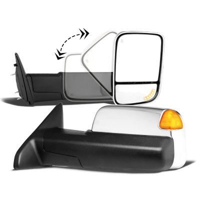 Dodge Ram 1500 2002-2008 Chrome New Power Heated Turn Signal Towing Mirrors