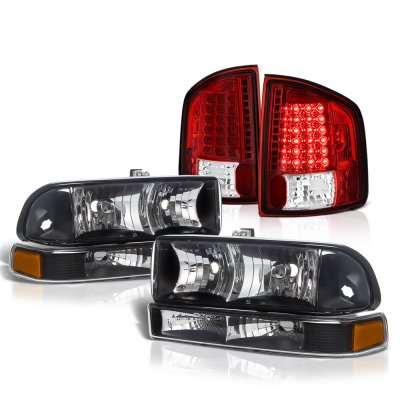 Chevy S10 1998-2004 Black Headlights Set Red LED Tail Lights