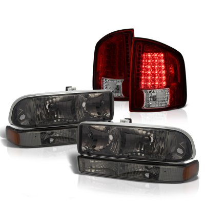 Chevy S10 1998-2004 Smoked Headlights Set Tinted LED Tail Lights