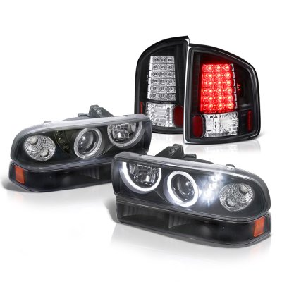 Chevy S10 1998-2004 Black Halo Projector Headlights Set LED Tail Lights