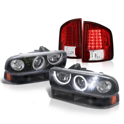 Chevy S10 1998-2004 Black Halo Projector Headlights Set Red LED Tail Lights