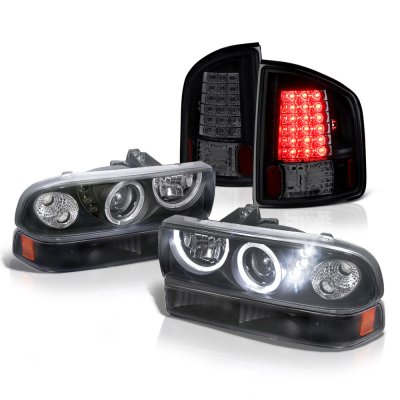 Chevy S10 1998-2004 Black Halo Projector Headlights Set Black Smoked LED Tail Lights