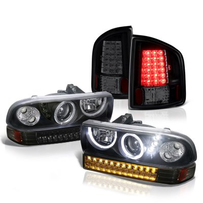 Chevy S10 1998-2004 Black Smoked Halo Projector Headlights LED Bumper Lights and LED Tail Lights