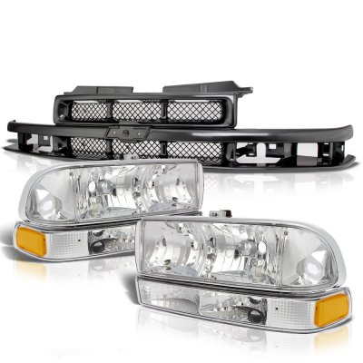 Chevy S10 1998-2004 Black Grille and Clear Headlights Set