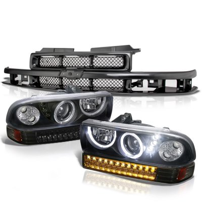 Chevy Blazer 1998-2005 Black Grille Halo Projector Headlights LED Bumper Lights