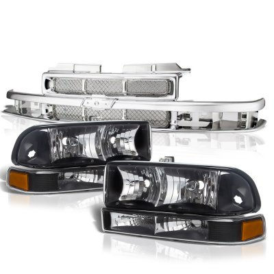 Chevy S10 1998-2004 Chrome Grille and Black Headlights Set