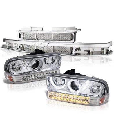 Chevy Blazer 1998-2005 Chrome Grille Halo Projector Headlights LED Bumper Lights