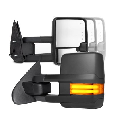 GMC Sierra 2007-2013 Towing Mirrors Tube LED Lights Power Heated