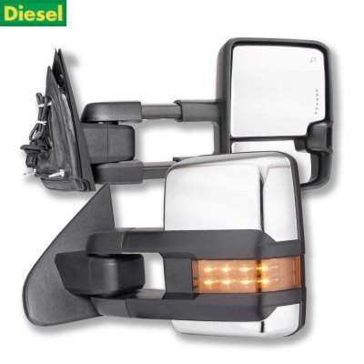 Chevy Silverado 2500HD Diesel 2015-2019 Chrome Towing Mirrors LED Lights Power Heated