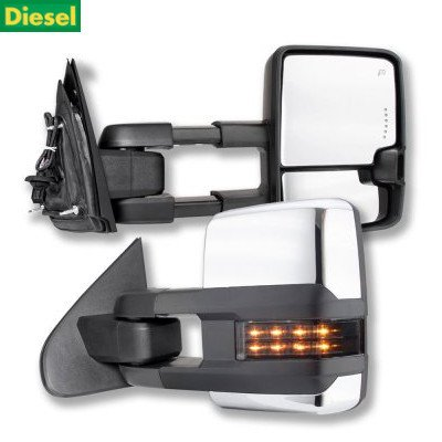 Chevy Silverado 2500HD Diesel 2015-2019 Chrome Towing Mirrors Smoked LED Lights Power Heated