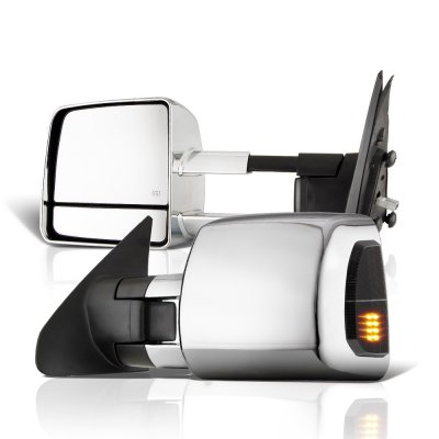 Toyota Tundra 2007-2020 Chrome Towing Mirrors Power Heated LED Signal Lights