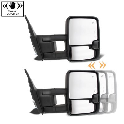 Toyota Tundra 2007-2020 Glossy Black Towing Mirrors LED Lights Power Heated