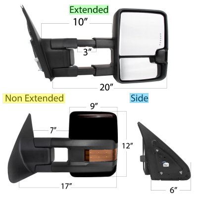 Toyota Tundra 2007-2019 Glossy Black Towing Mirrors LED Lights Power Heated