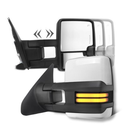 Toyota Tundra 2007-2019 White Towing Mirrors Smoked Tube LED Power Heated