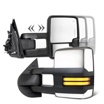 Toyota Tundra 2007-2020 Chrome Smoked Tube LED Towing Mirrors Power Heated