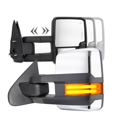 Toyota Tundra 2007-2020 Chrome Tube LED Towing Mirrors Power Heated