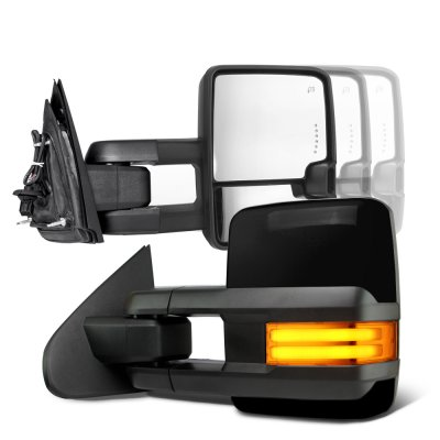 Toyota Tundra 2007-2021 Glossy Black Towing Mirrors Tube LED Power Heated