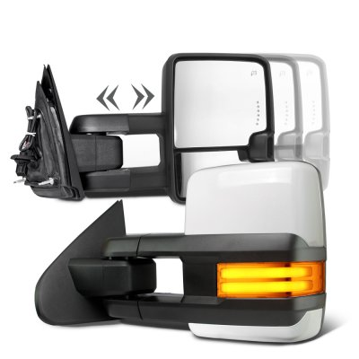 Toyota Tundra 2007-2021 White Towing Mirrors Tube LED Power Heated
