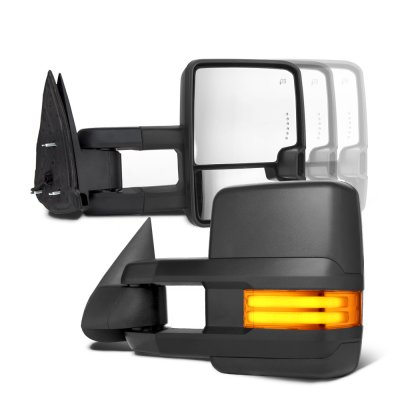 Chevy Silverado 2003-2006 Towing Mirrors Tube LED Lights Power Heated