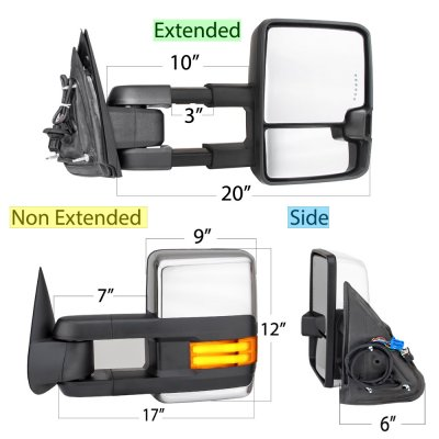 Chevy Silverado 2003-2006 Chrome Towing Mirrors Tube LED Lights Power Heated