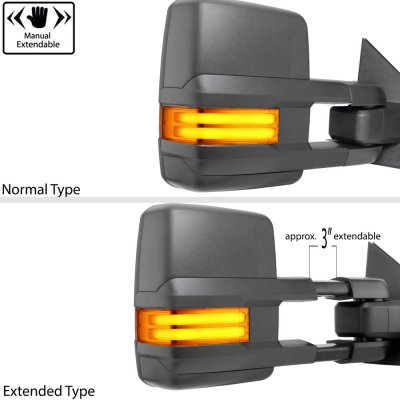Chevy Silverado 1999-2002 Towing Mirrors Tube LED Lights Power Heated
