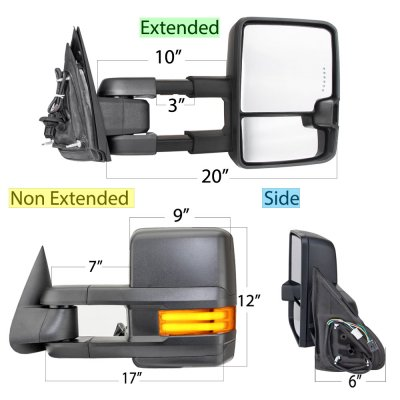 GMC Sierra 1999-2002 Towing Mirrors Tube LED Lights Power Heated