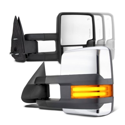 Chevy Silverado 1988-1998 Chrome Towing Mirrors Tube LED Lights Power
