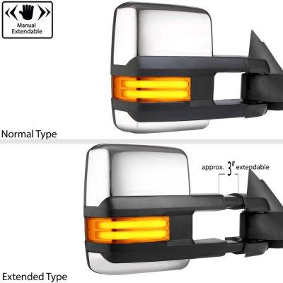 GMC Sierra 1988-1998 Chrome Towing Mirrors Tube LED Lights Power