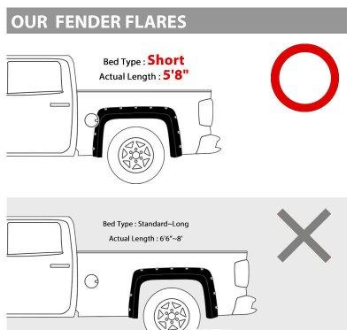 Chevy Silverado 2500HD 2015-2019 Short Bed Fender Flares Pocket Rivet