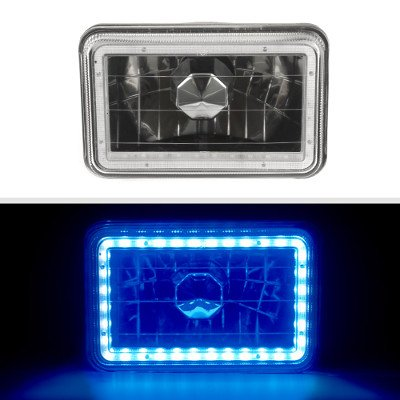 Toyota Land Cruiser 1988-1990 Blue LED Halo Black Sealed Beam Headlight Conversion Low and High Beams