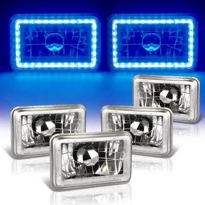 Chevy Blazer 1981-1988 Blue LED Halo Sealed Beam Headlight Conversion Low and High Beams