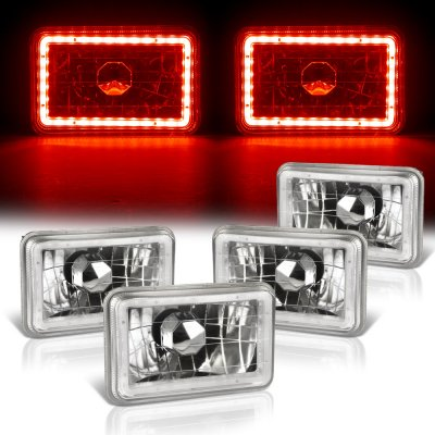 Chevy C10 Pickup 1981-1987 Red LED Halo Sealed Beam Headlight Conversion Low and High Beams