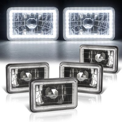 Chevy Suburban 1981-1988 LED Halo Black Sealed Beam Headlight Conversion Low and High Beams