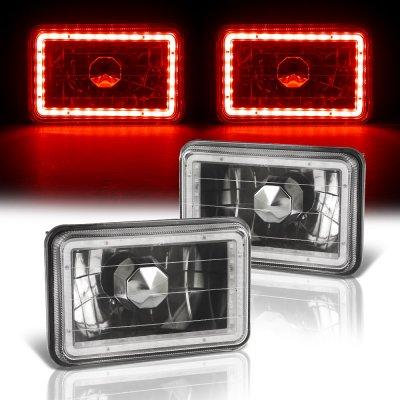 Chrysler Fifth Avenue 1984-1990 Red LED Halo Black Sealed Beam Headlight Conversion