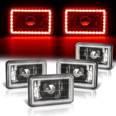Buick Skyhawk 1975-1978 Red LED Halo Black Sealed Beam Headlight Conversion Low and High Beams