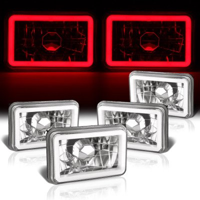 Chevy 1500 Pickup 1981-1987 Red Halo Tube Sealed Beam Headlight Conversion Low and High Beams
