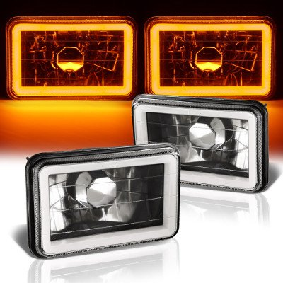Cadillac Eldorado 1975-1985 Amber Halo Tube Black Sealed Beam Headlight Conversion
