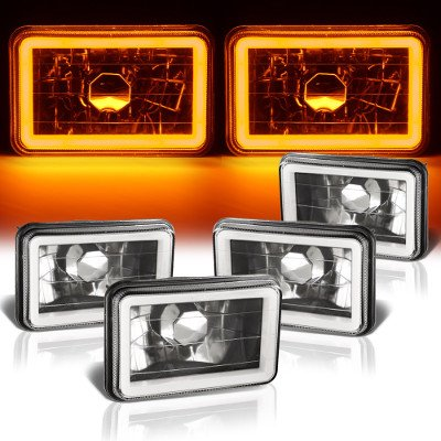 Chevy C10 Pickup 1981-1987 Amber Halo Tube Black Sealed Beam Headlight Conversion Low and High Beams