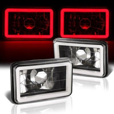 Chevy Celebrity 1982-1986 Red Halo Tube Black Sealed Beam Headlight Conversion