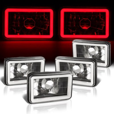 Chevy 1500 Pickup 1981-1987 Red Halo Tube Black Sealed Beam Headlight Conversion Low and High Beams