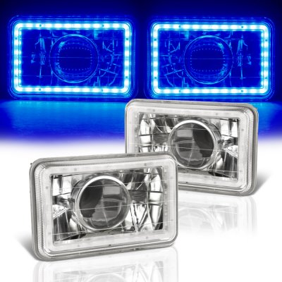 Chevy 1500 Pickup 1981-1987 Blue LED Halo Sealed Beam Projector Headlight Conversion
