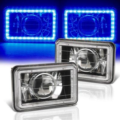 Cadillac Eldorado 1975-1985 Blue LED Halo Black Sealed Beam Projector Headlight Conversion