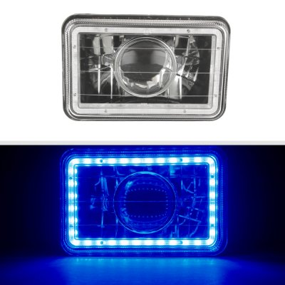 Chevy 1500 Pickup 1981-1987 Blue LED Halo Black Sealed Beam Projector Headlight Conversion