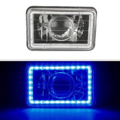 Isuzu Impulse 1984-1986 Blue LED Halo Black Sealed Beam Projector Headlight Conversion