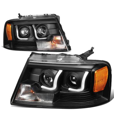 Ford F150 2004-2008 Black LED DRL Projector Headlights