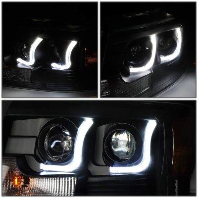 Ford F150 2004-2008 Black LED DRL Projector Headlights