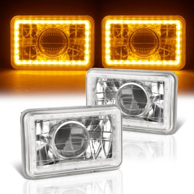 Chrysler New Yorker 1988-1990 Amber LED Halo Sealed Beam Projector Headlight Conversion